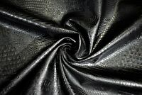 "Marine Vinyl Fabric Black Alligator Croc Automotive Upholstery 54"" By The Yard"
