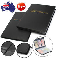 60 Pockets Soft Leather Notes Album Banknote Paper Money Collection Stamps a