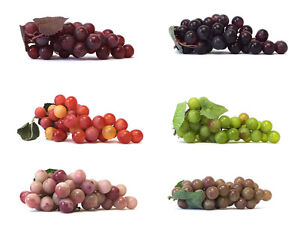 Artificial Grape Cluster 7-inch Plastic Decorative Grapes Fake Green Red