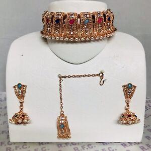 Rose gold pearl multi colour choker necklace jhumka earring & tikka IndianBridal
