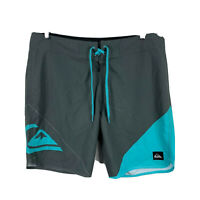 Quiksilver Mens Board Shorts Size 34 Blue Grey Drawstring Swim Shorts
