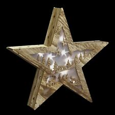 New Light Up Wooden Star Christmas Room Decoration LED Battery Operated Ornament