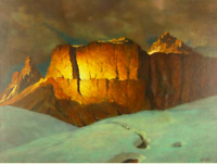 Painting, Snowy cliff landscape, oil on canvas, William Stanley Haseltine,