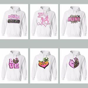 Women Pink Camo Hoodie Girls Hunt Too Love Deer Hunting Sweatshirt Hooded White