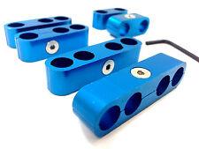 Universal Aluminum Spark Plug Wire Loom Separators Dividers 6 Piece Set - Blue
