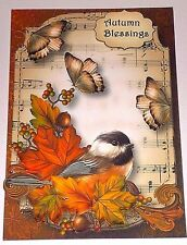 Handmade Greeting Card 3D All Occasion With Fall Leaves And A Bird
