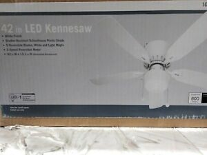 Kennesaw 42 in. LED Indoor White Ceiling Fan with Light Kit by Unbranded