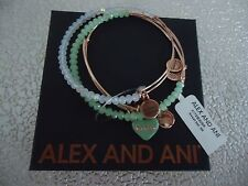 Alex and Ani BE MINE SWEET SET OF 3  Shiny Rose Bangles New W/ Tag Card & Box