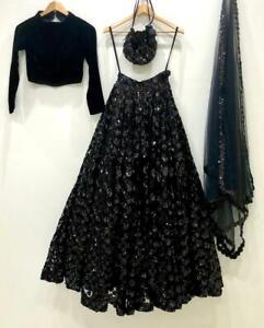 Trendy Sequence Black Bridal Choli Lehenga Wedding Special Velvet Skirt Lengha
