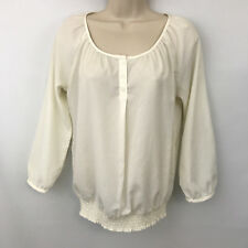 The Limited Womens Ivory Semi-Sheer Peasant Blouse XS Cinched Hem Career Casual