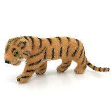 Wagner Kunstlerschutz Tiger 1.5in Wool Flocked Toy Figure Putz Label 1970s Vtg