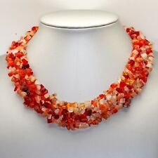 collar de CORNALINAS NATURALES, 620 quilates, 4 FILAS Trenzados , 44 centímetros