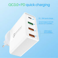 PD 18W Charger Fast Charging Type-C 5V 3A QC3.0 Quick Charge USB 4 Ports Adapter