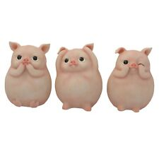 Three Wise Cute Piggies Figurines Ornament Moulds Figure Display Stand Gifts