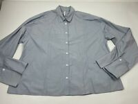 Free People Blue Long Sleeve Button Down Shirt Top Medium M Oversized Cotton