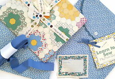 LEARN TO SEW MY FIRST QUILT KIT -BLUE Moda Fabric Top & Back Label Binding &More