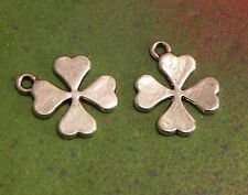 20 Four Leaf Clover Charms Pendant Silver 4 Leaves Leaflets Charm Good Luck