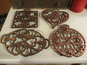 (4) Cast Iron Copper Colored Pampered Chef Round Up from the Heart Trivets