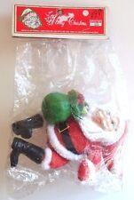 Vintage FRANKEL Flocked Plastic Santa Claus with Sack Ornament Hong Kong Fuzzy