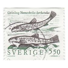 Europe:  Sweden (Sverige) Noemacheilus barbatulus Fish 5.50 Stamp, 1991 - Used
