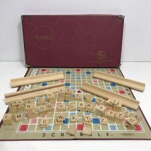 Vtg 1953 Scrabble Board Game Selchow & Richter Wood Tiles Holders 100% Complete