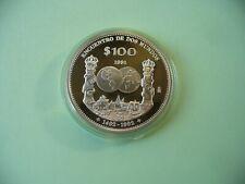 Mexiko 100 Pesos 1991 PP Silber Begegnung 2er Welten