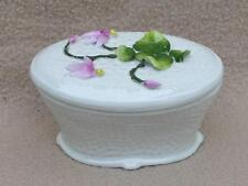 ANTIQUE VICTORIAN CONTINENTAL PORCELAIN FLOWER ENCRUSTED DRESSING TABLE BOX