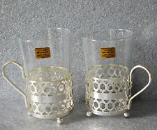 2 vintage French glass tumblers Arcoroc for hot drinks cups mugs metal holders