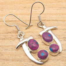 "925 Silver Plated Purple Copper Turquoise Sword Style Ethnic Earrings 1.4"" !"