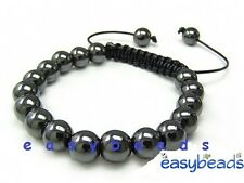 Men's Shamballa bracelet  all 10mm GUN METAL HEMATITE GREY beads