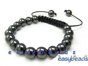 Men's Gemstone Bracelet all 10mm GUN METAL HEMATITE GREY beads