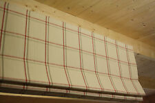 Roman Blind, Laura Ashley Corby Check Cranberry Fabric  (Made to measure)