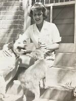Pretty Woman Sitting on Stairs With Dogs Puppy Old Beer Drink Picture Photo 1949