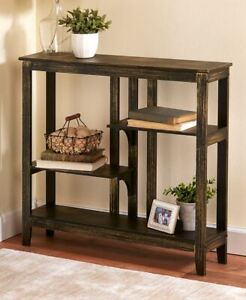 Country Rustic Brushed Metallic Console Table w/ Display Shelves Home Decor Gift