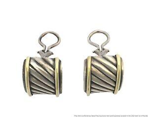 Vintage David Yurman Sterling Silver Banded Earrings Outlined In 14k Gold