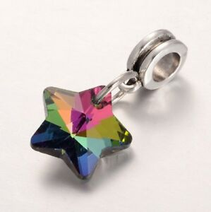 Colourful Rainbow Glass Star Pendant European Charm Bead UK