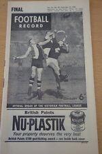 1962 AFL FOOTBALL RECORD CARLTON GEELONG PRELIM FINAL