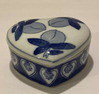 Vintage Heart Shaped Porcelain Trinket Box White And Blue Made In China
