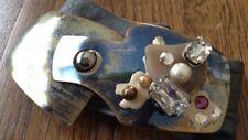 "Vintage Belt Buckle 80s-90s 7"" Rhinestone Geode Enamel Buckle Gray Strap"