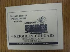 08/05/1994 Rugby League Ticket: Londres Croisés V Keighley couguars