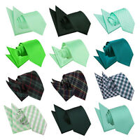 DQT Green Mens Tie & Hanky Set Solid Plain Plaid Patterned Floral Paisley Polka