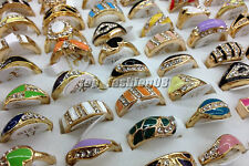 Hot 10Ps Mixed Lots Gold Plated Rhinestone Glaze wedding Rings Jewelry Wholesale