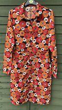 Brave Soul Retro 70s Style Orange Red Floral Midi Shirt Dress S