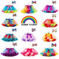 Layered Ballet Rainbow Tutu Skirt Little Girl Kids Hair Bows Mini Dress Colorful