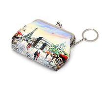 Coin Purse w/Key Ring -Paris Street Scene w/Eiffel Tower, Arc de Triomphe & More