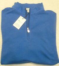 Peter Millar Quarter Zip Interlock Pullover Sweater NWT Small $125 Sail Blue