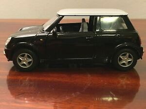"Kinsmart Mini Cooper 5"" model toy car, 1:28, pull back action, black"