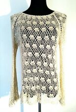 Vintage Crochet 1970's Boat Neck Top Women's Large Beige Hippie 100% Cotton
