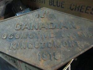 OLD RAILROAD 1919 KINGSTON ONTARIO CANADIAN TRAIN LOCOMOTIVE BUILDERS PLATE
