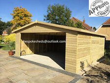 14x12 Carport Wooden Garage Workshop Shed Heavy Duty T&G 16mm Cladding Tanalised
